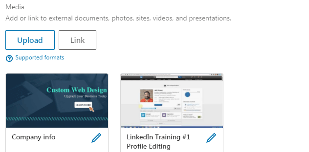 LinkedIn profile Tips Media Section