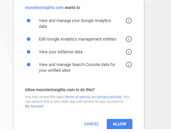 Allow MonsterInsights to view Google Account