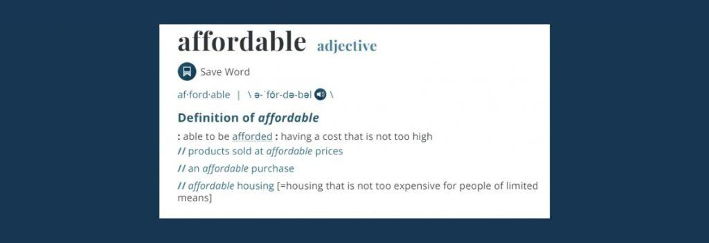 Merriam Webster dictionary Affordable defined