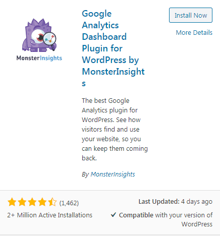 MonsterInsights Plugin Download Screenshot