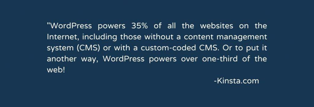 WordPress powers 35% of websites quote